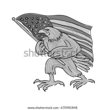 Illustration American Bald Eagle Waving Usa Stock Vector 670985848
