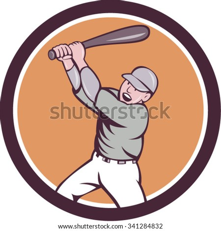 Illustration of an american baseball player holding bat batting homer home run set inside circle on isolated background done in cartoon style.  - stock vector