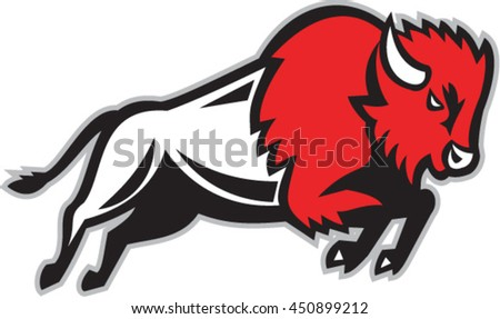 Illustration of an American bison or buffalo jumping viewed from the side set on isolated white background done in retro style.