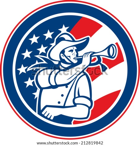 Illustration of an American calvary soldier blowing a bugle set insde circle with USA stars and stripes flag in background done in retro style.