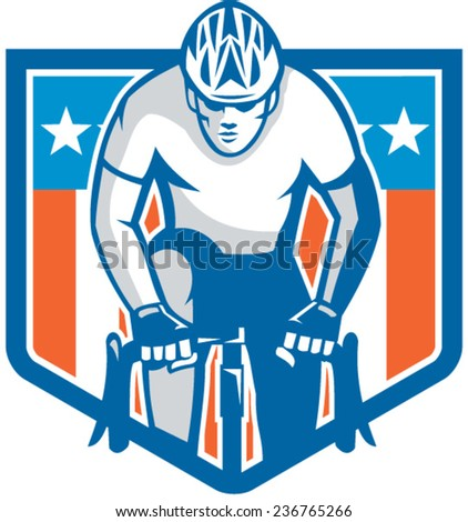 Illustration of an american cyclist riding racing bicycle cycling facing front set inside shield crest with usa stars and stripes flag in the background done in retro style.