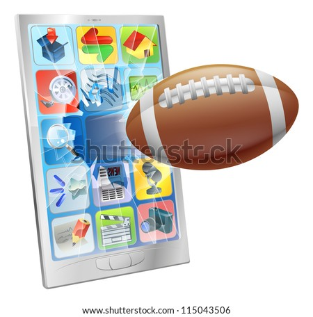 Illustration of an American football ball flying out of mobile phone screen - stock vector