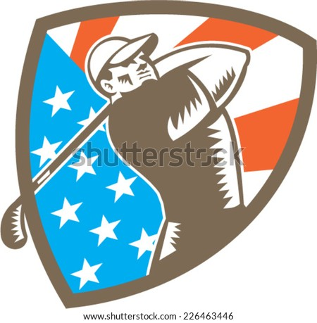 Illustration of an american golfer playing golf swinging club tee off set inside shield crest with american stars and stripes flag in the background done in retro woodcut style.  - stock vector