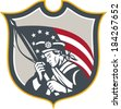 Illustration of an American Patriot holding a USA Betsy Ross flag set inside crest shield on isolated white background done in retro style. - stock