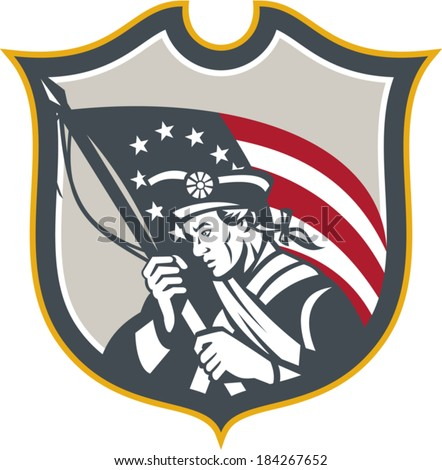 Illustration of an American Patriot holding a USA Betsy Ross flag set inside crest shield on isolated white background done in retro style.