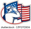 Illustration of an American soldier serviceman saluting USA stars and stripes flag viewed from rear set inside oval done in retro style. - stock vector