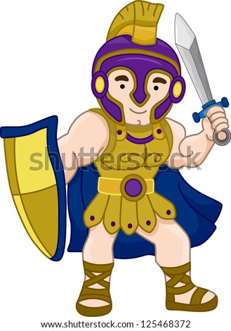 Illustration of an Ancient Greek Warrior - stock vector