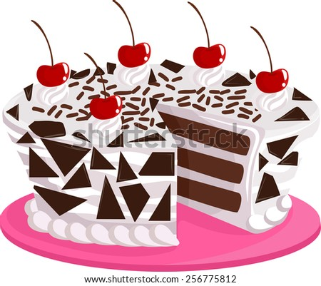 Illustration of an Appetizing Black Forest Cake Sitting on a Pink Platter - stock vector