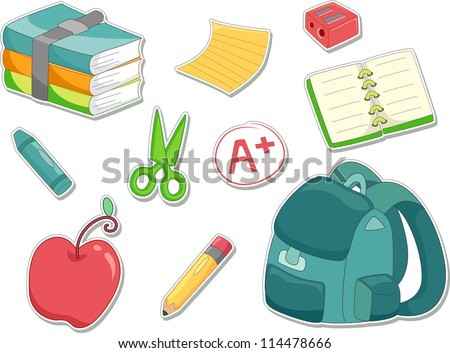 Illustration of an Apple, Sharpener, Notebook, Crayon, Pencil, A+ Mark, Schoolbag, and a Stack of Books Ready to be Made into Stickers - stock vector