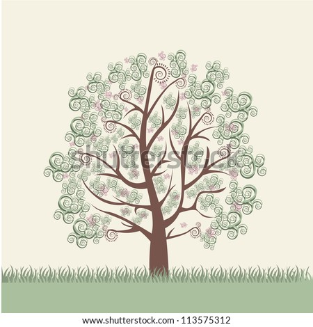 Illustration of an arabesques tree, green and brown, vector illustration