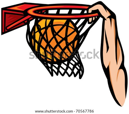 Illustration of an arm dunking a basketball in a slam dunk