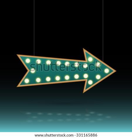Illustration of an arrow sign with lightbulbs against a dark background. - stock vector