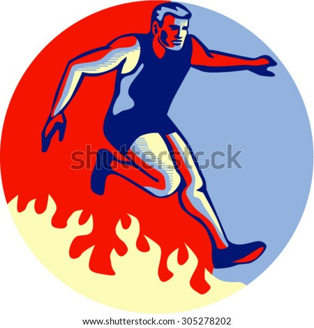 Illustration of an athlete in obstacle course racing jumping over fire set inside circle done in retro style.