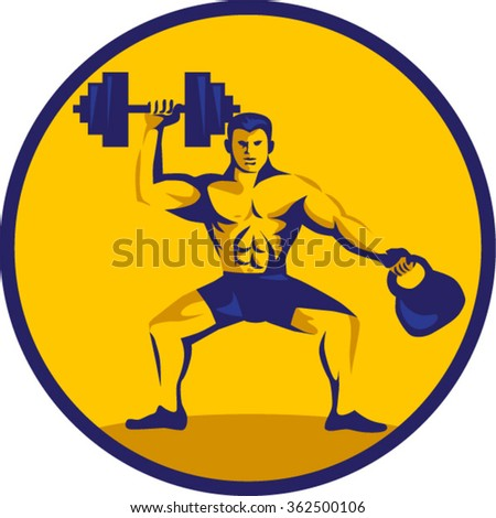 Illustration of an athlete weightlifter lifting kettlebell with one hand and dumbbell on the other hand facing front set inside circle on isolated background done in retro style. - stock vector