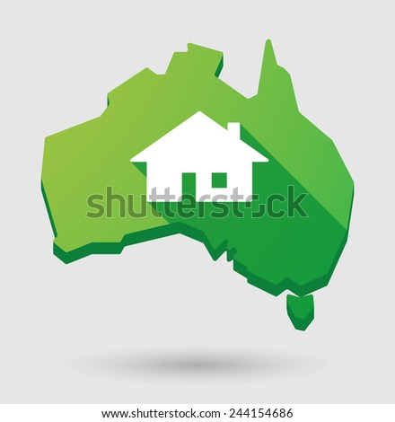 Illustration of an  Australia map with a house - stock vector