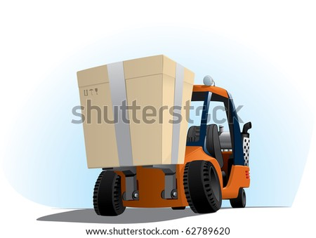 illustration of an autoloader with a big box - stock vector