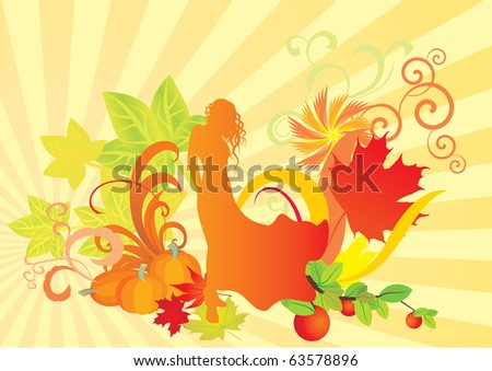 Illustration of an Autumn Fairy - stock vector
