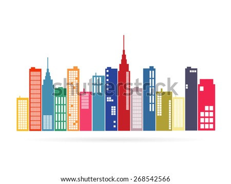 Illustration of an city isolated on a white background. - stock vector
