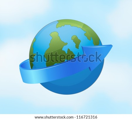 illustration of an earth globe and arrow on a blue