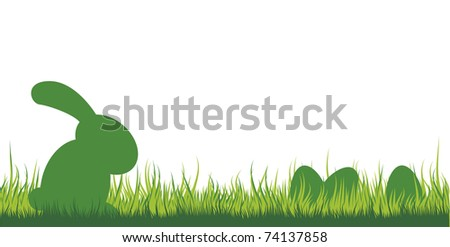 illustration of an easter bunny sitting in the grass watching the eggs - stock vector