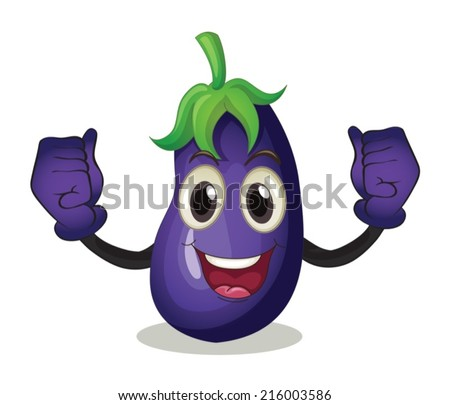 Illustration of an eggplant with face - stock vector