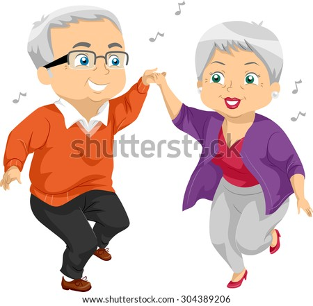 Illustration of an Elderly Couple Dancing at a Party - stock vector