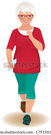 Illustration of an elderly woman in a tracksuit jogs/Elderly woman runner/Portrait of an elderly woman running on a white background - stock vector