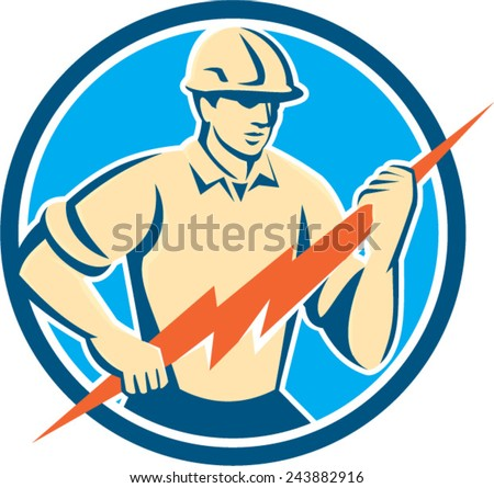 Illustration of an electrician construction worker holding a lightning bolt viewed from the front set inside circle done in retro style on isolated background. - stock vector