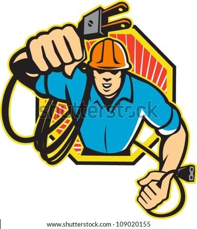 Illustration of an electrician construction worker holding an electrical electric plug with cord front view set inside hexagon done in retro style in isolated white background.