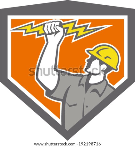 Illustration of an electrician construction worker wield holding a lightning bolt set inside shield crest done in retro style on isolated white background.