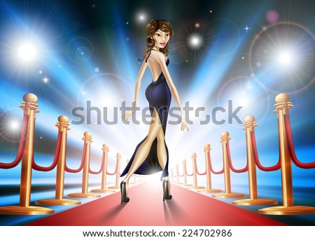 Illustration of an elegant beautiful celebrity woman on a red carpet with paparazzi lights flashing - stock vector