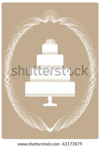 Illustration of an Elegant Four Layer Cake Invitation or Announcement on a Pearl Grey colored background with scroll design framing. - stock vector