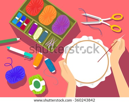 Illustration of an Embroidery Kit Lying Next to a Woman Embroidering a Pattern - stock vector
