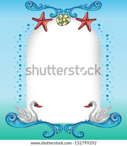 Illustration of an empty surface with starfishes and swans - stock vector