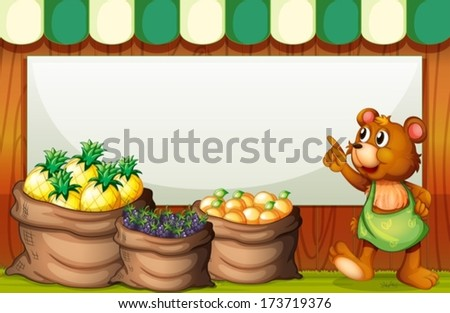 Illustration of an empty template with a bear selling fruits - stock vector