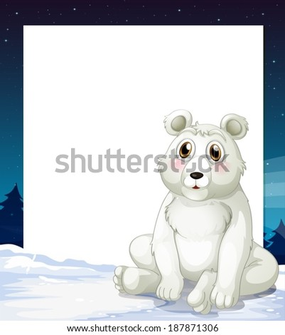 Illustration of an empty template with a polar bear - stock vector
