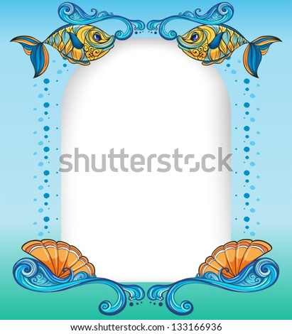 Illustration of an empty template with the sea creatures - stock vector
