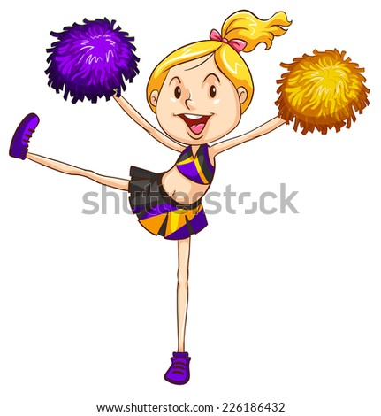 Illustration of an energetic cheerdancer on a white background  - stock vector