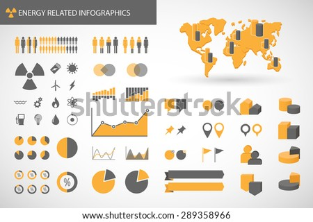 illustration of an   energy  related infographics kit  - stock vector