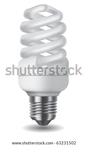Illustration of an energy saving compact fluorescent lightbulb - stock vector