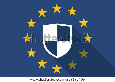 Illustration of an European Union  long shadow flag with a shield - stock vector