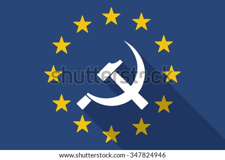 Illustration of an European Union  long shadow flag with  the communist symbol - stock vector