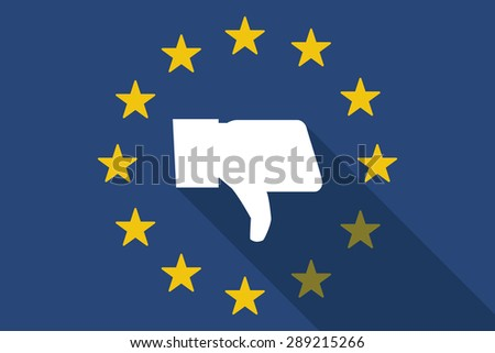 Illustration of an European Union with a thumb down hand - stock vector