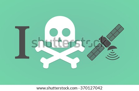 """Illustration of an """"I don't like"""" hieroglyph with a satellite - stock vector"""