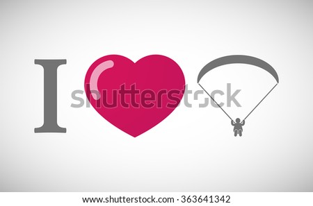 """Illustration of an """"I love"""" hieroglyph with a paraglider - stock vector"""