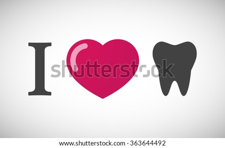 """Illustration of an """"I love"""" hieroglyph with a tooth - stock vector"""