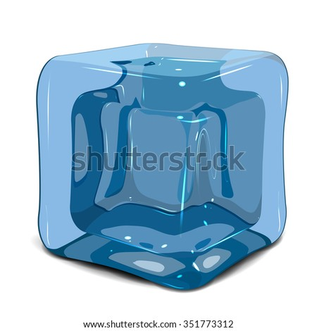 Illustration of an ice cube on a white background - stock vector