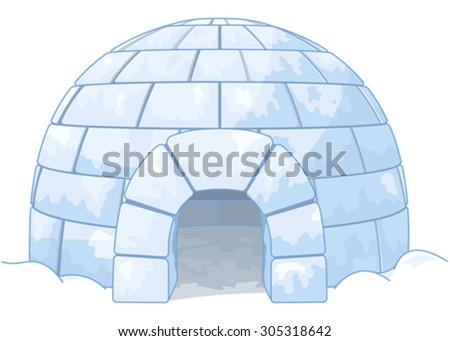 Illustration of an igloo - stock vector