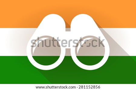 Illustration of an India flag icon with a binoculars - stock vector
