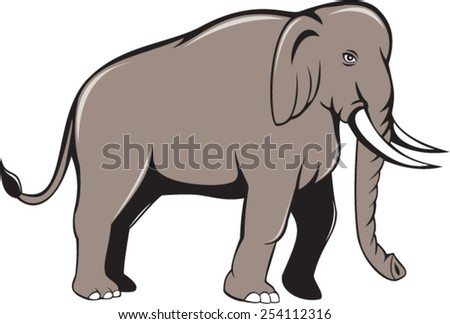 Illustration of an Indian elephant with tusks walking viewed from side on isolated white background done in cartoon style. - stock vector